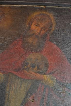 Detalle del rostro craquelado de San Jerónimo